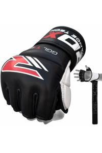 Перчатки для ММА RDX Leather Gel Tech Grappling Gloves TGX-4B Black